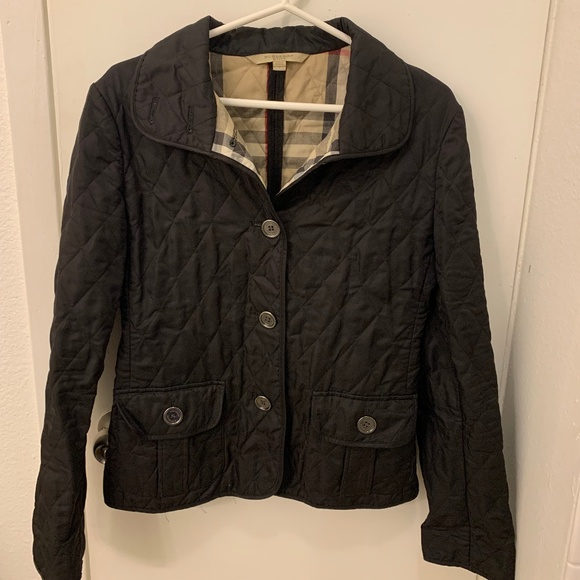 Black Diamond Quilted Burberry Jacket, size S